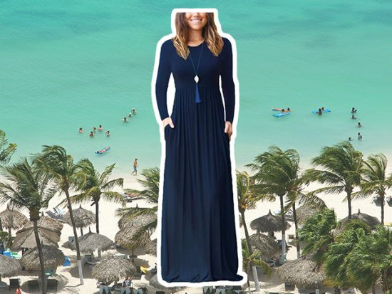 GRECERELLE Women's Long Sleeve Loose Plain Maxi Dress in Blue