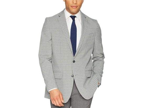 Haggar Men's Small Grid Fancy Slim Fit 2-Button Side Vent Sport Coat
