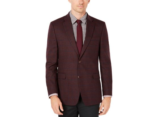 Tommy Hilfiger Men's Modern-Fit TH Flex Stretch Burgundy/Blue Windowpane Sport Coat
