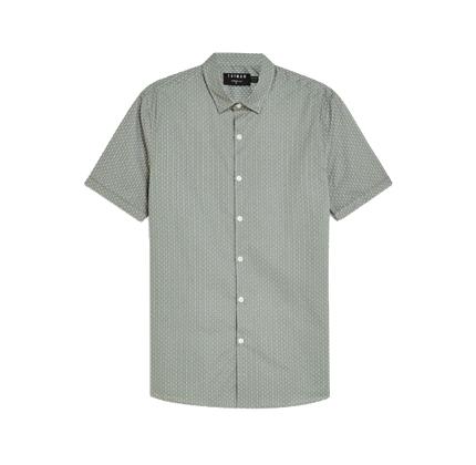 Topman Sage Geometric Stretch Skinny Shirt