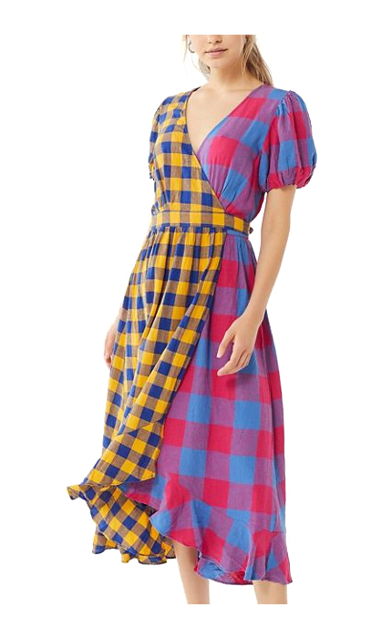Urban Outfitters UO Anna Linen Mixed Plaid Midi Wrap Dress