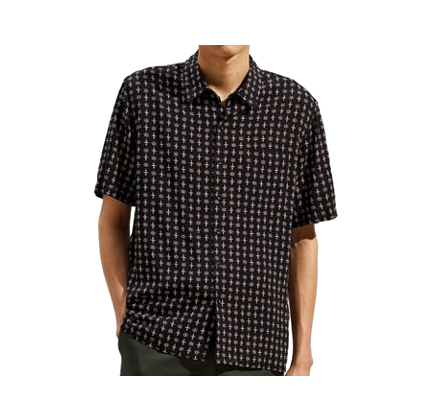 Urban Outfitters UO Geo Foulard Short Sleeve Button-Down Shirt