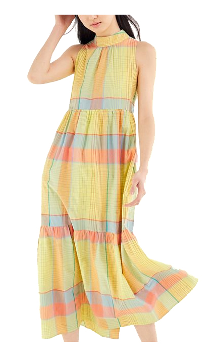 Urban Outfitters UO Greta Tiered Ruffle Mock Neck Maxi Dress