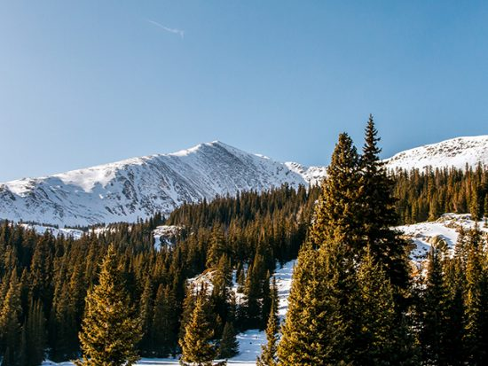 View of the Rocky Mountains in Winter