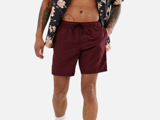 ASOS DESIGN swim shorts in burgundy mid length.