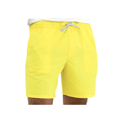 ASOS DESIGN swim shorts in yellow in mid length