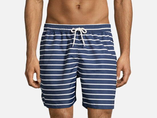 Barbour Stripe Swim Trunks.