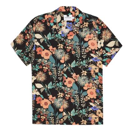 Topman Black Floral Revere Shirt