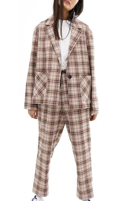 COLLUSION soft check blazer and peg pants.