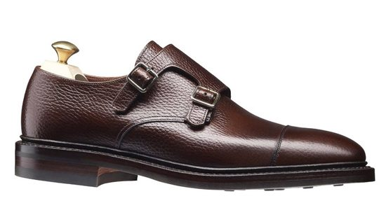 CROCKETT AND JONES HARROGATE DOUBLE MONKSTRAP SHOE IN DARK BROWN.