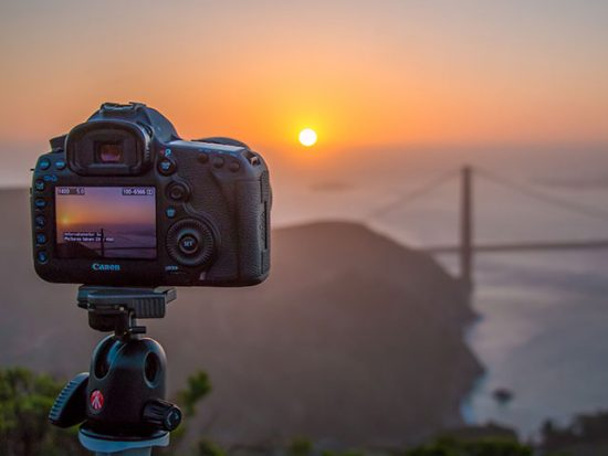Camera set-up for a long exposure shot at sunset
