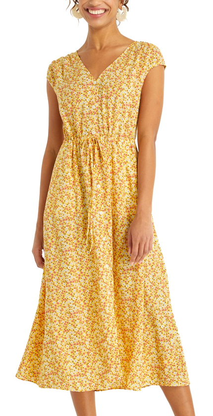Floral V-Neck Button Front Dress Draper James