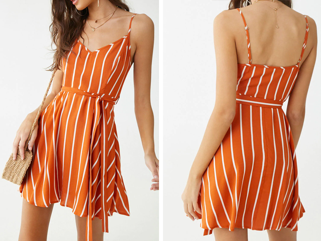 Forever21 Striped V-Neck Mini Dress.