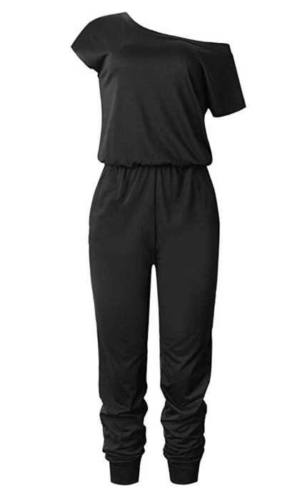 Hibluco Women's Short Sleeve Round Neck Solid Romper Jumpsuits with Pockets