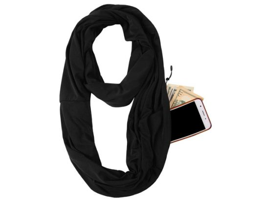 JOKHOO Infinity Scarf Wrap with Secret Hidden Zipper Pocket-2