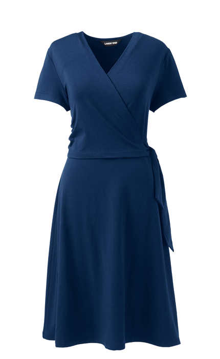 Women's Short Sleeve Knit Faux Wrap Dress