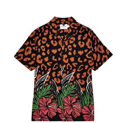 Topman Leopard Floral Revere Shirt
