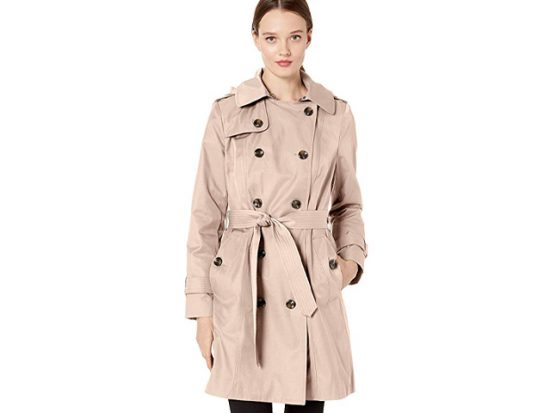 "London Fog Women's 36"" Length Double-Breasted Trench Coat with Belt."