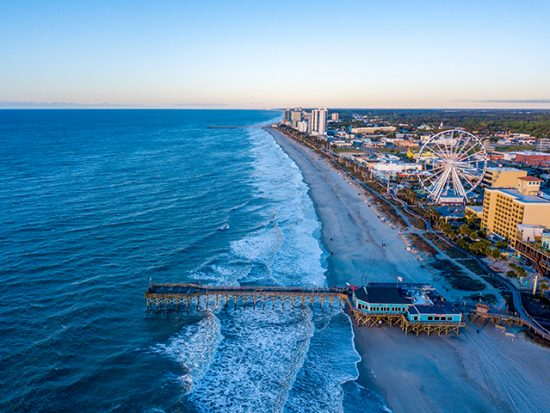 Myrtle Beach Aerial View at Sunset.