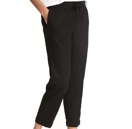Mid-Rise Linen-Blend Straight-Leg Cropped Pants for Women