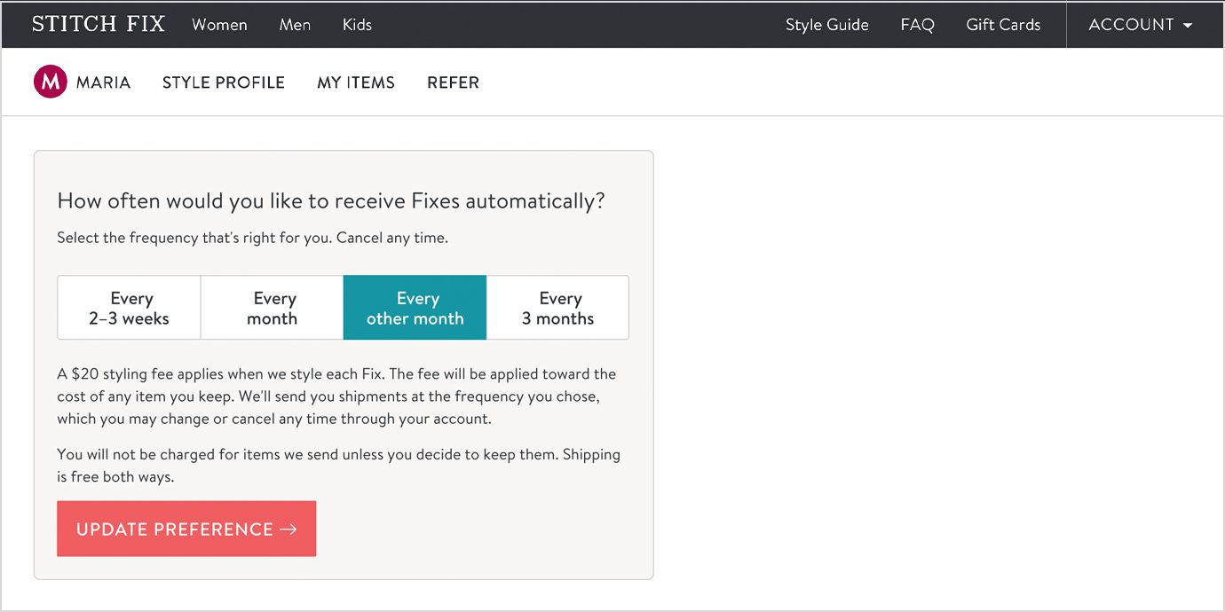 Screenshot of Changing Your Stitch Fix Frequency.