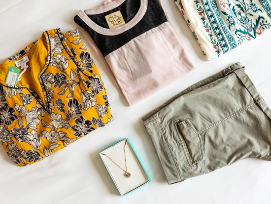 Stitch Fix Box items Laid-out on Bed.