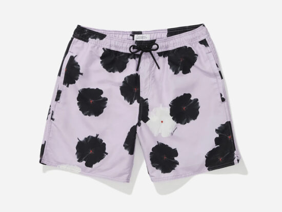 Timothy Moon Flower Swim Short, Faded Plum.