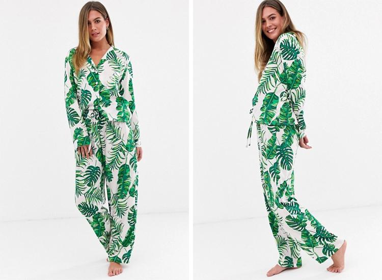 ASOS DESIGN palm print pyjama pants set in 100% modal.