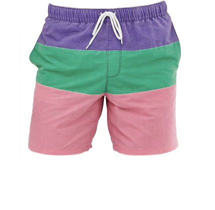 ASOS DESIGN swim shorts in purple green & pink acid wash in mid length.