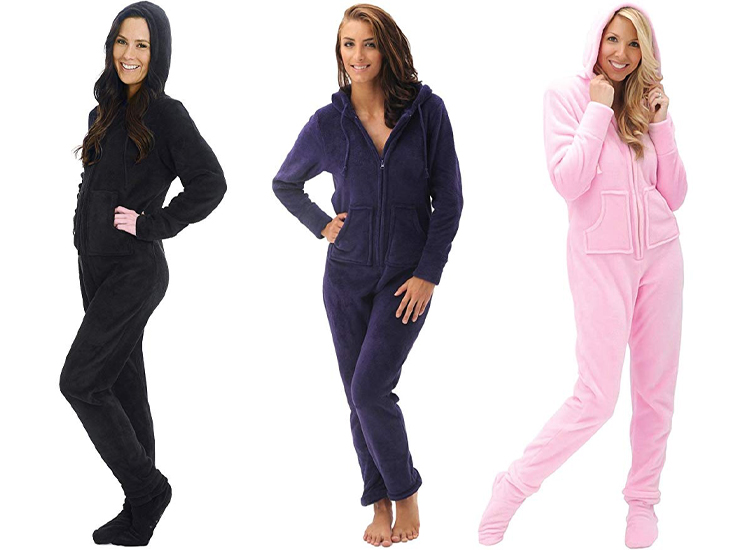 Alexander Del Rossa Womens Fleece Solid Colored Onesie, Hooded Footed Jumpsuit Pajamas.