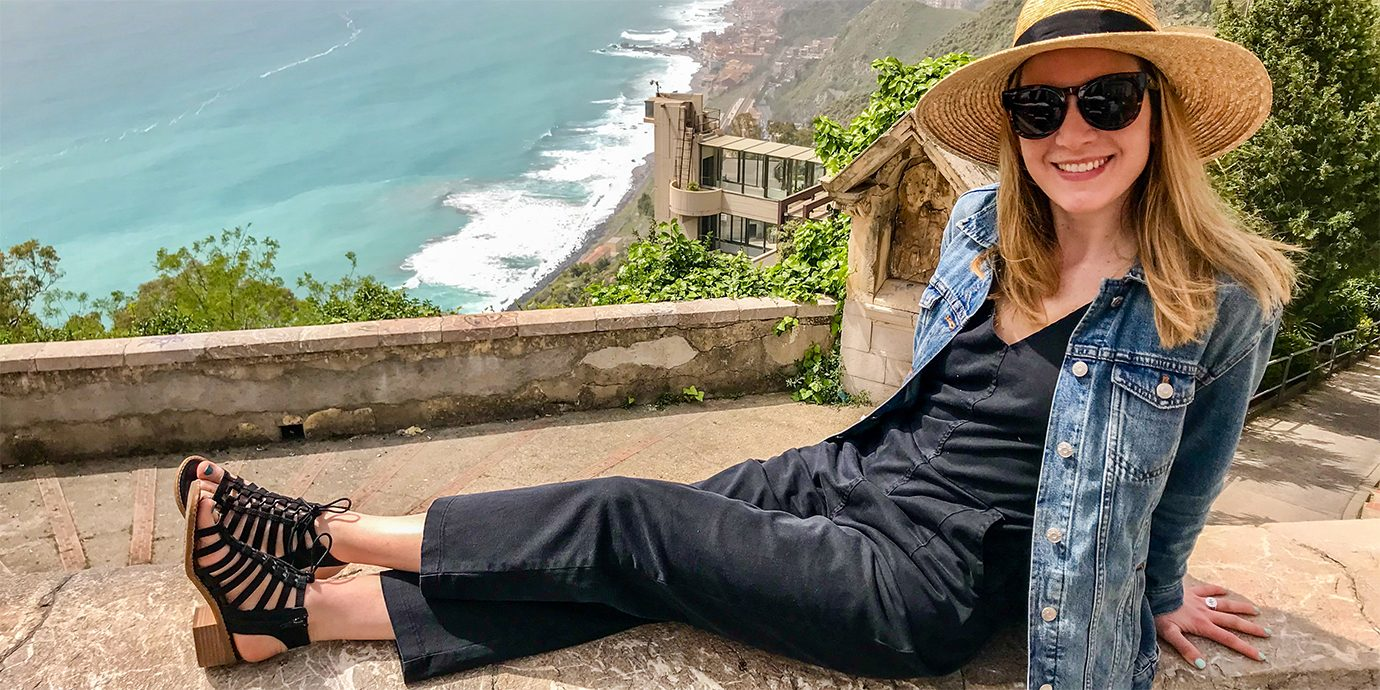 Anne in Sicily, Wearing the Comfortivia Blossom Sandals.
