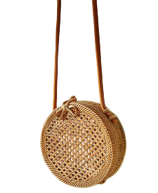 Anthropologie Rattan Circle Bag.