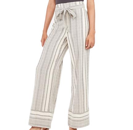 Express High Waisted Striped Yarn Dye Wide Leg Pant.