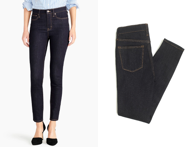"""J.Crew Factory 9"""" high-rise skinny jean in rinse wash."""