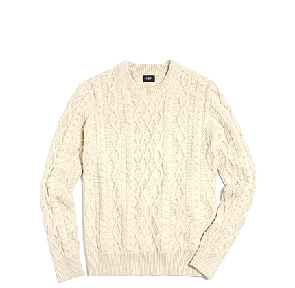 J.Crew Fisherman cable crewneck sweater.