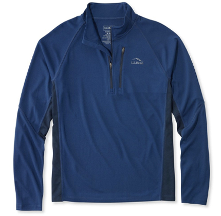 L.L.Bean Ridge Runner Quarter-Zip, Long-Sleeve Colorblock.