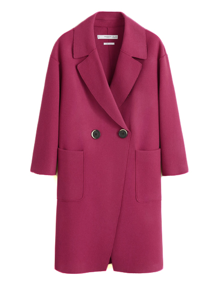 Mango Unstructured virgin wool coat.