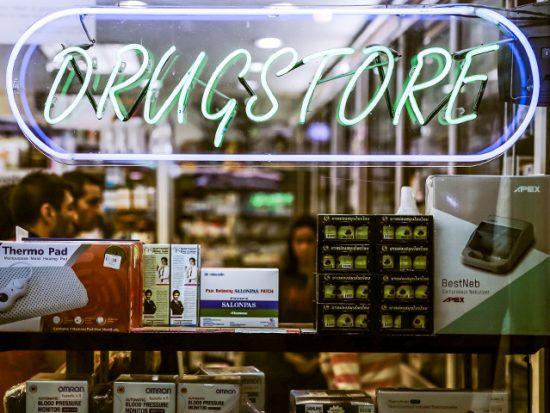Neon Drug Store Sign.