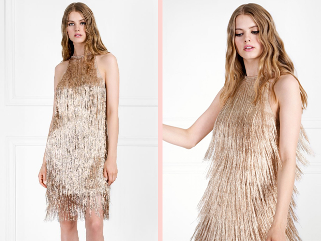 Rachel Zoe Nova Metallic Fringe Mini Dress.