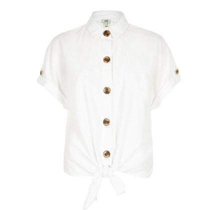 River Island tie front shirt in white.