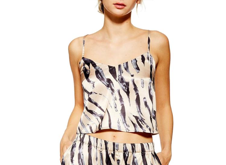 Topshop Tiger Satin Crop Pajama Camisole.