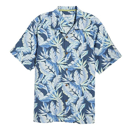 Tommy Bahama Island Zone Break Wave Fronds Silk Blend Camp Shirt.
