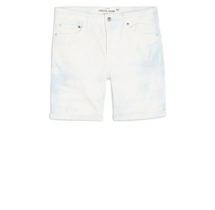 Topman Blue Tie Dye Skinny Shorts.