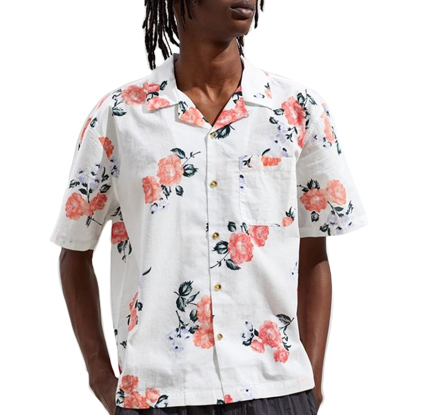 UO Printed Sheer Short Sleeve Button-Down Shirt.