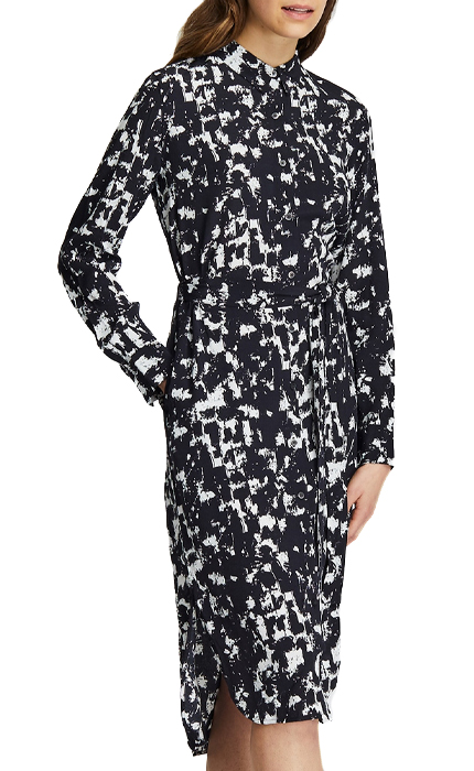 Uniqlo WOMEN PRINTED LONG-SLEEVE SHIRT DRESS.