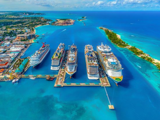 View of Nassau Bahamas Cruise Port from Above.