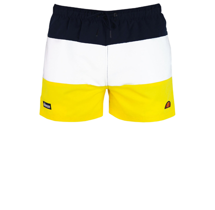 ellesse Cielo block panel shorts in yellow.
