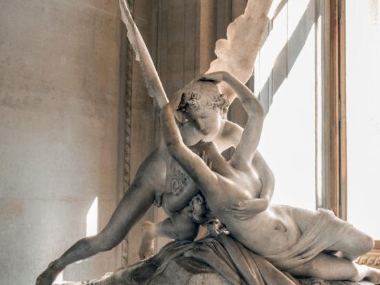 A scuplture in the Louvre Museum in Paris.
