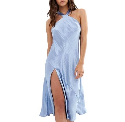 ASOS DESIGN midi dress with halter neck detail in high shine satin.