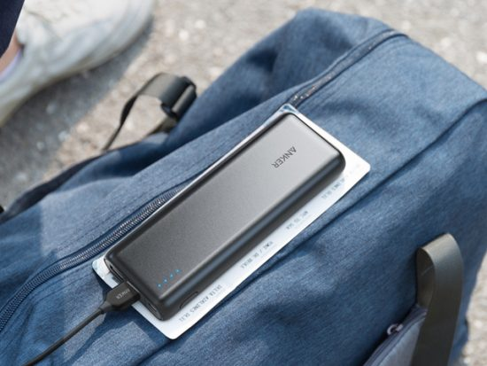 Anker Portable Charger on a bag at the airport.